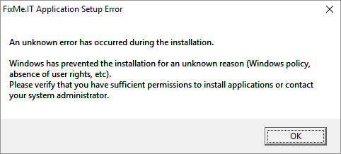 Identify compatibility issues and eliminate unknown FixMe.IT setup errors