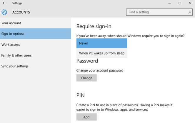 Disable Windows 10 password prompt on wakeup