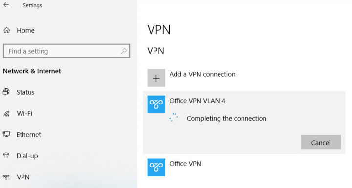 VPN gets stuck on connecting in Windows 10 - solution