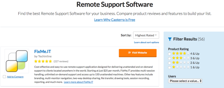 FixMe.IT - highest rated remote support software on Gartner's Capterra