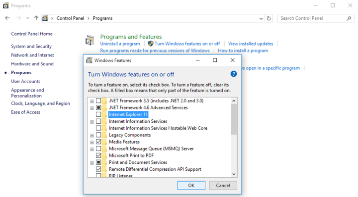 How to disable Internet Explorer in Windows 10